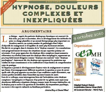 Hypnose, Douleurs Complexes et Inexpliquées. Formation Hypnose Paris